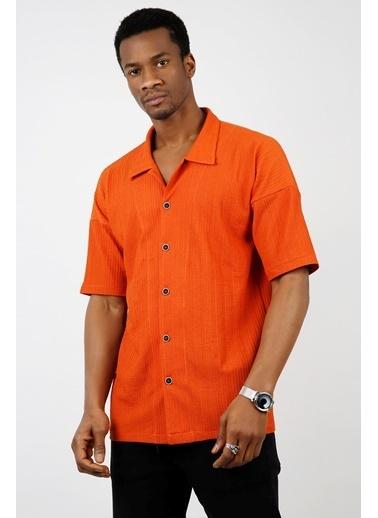 XHAN Mercan Salaş Kısa Kollu Gömlek 1Kxe2-44733-64 Oranj